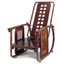 sitzmaschine' a stained beech and metal armchair, designed circa 1905 by josef hoffmann