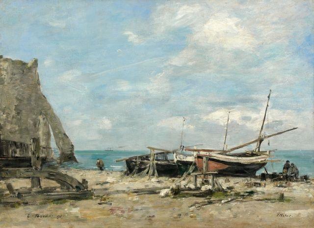 étretat bateaux de pêche sur la plage et falaise daval by eugène boudin