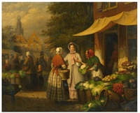 scène de marché by léonard saurfelt