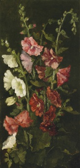 hollyhocks by john la farge