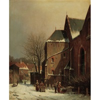 dutch street scene in winter by adrianus eversen
