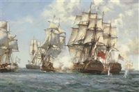 engagement between 'mediator' and three french and two american ships by montague dawson