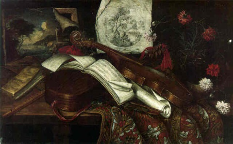 a viola a lute a recorder music sheets and other objects on a table by antonio cioci