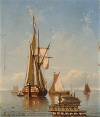 ships on the water by johan conrad greive