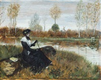 elegant company on the riverbank by norbert goeneutte