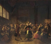 a peasant dance in a barn interior by gerrit lundens