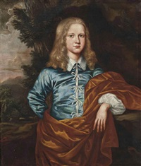 portrait of a boy (lord david hay of belton house, nr. dunbar, scotland?) in a blue coat and a rust shawl, standing in a wooded landscape by david scougall