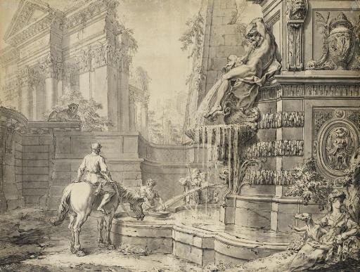 caprice architectural avec un cavalier abreuvant son cheval à une fontaine by gilles marie oppenort