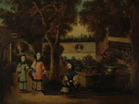 a view of a pleasure garden with three elegant ladies (+ another similar; pair) by anglo-chinese school (18)