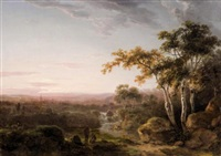 landscape with figures at sunset by abraham pether