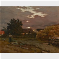 evening near avignon by jean-charles cazin