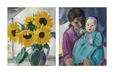 young woman holding a child and still life with sunflowers verso by martha walter