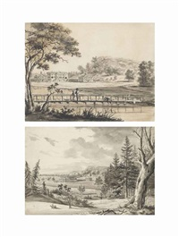 fonthill splendens including: views of the principal front...; from the hill across the lake, showing the landscaping...; from the wooden... (9 works) by hendrik frans de cort
