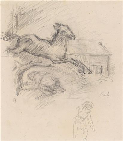 studienblatt mit springendem pferd by alfred kubin