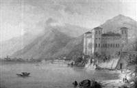 figuras en un paisaje con montañas, lago y castillo by carl martin laeisz