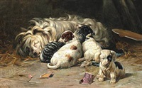 a dog with puppies by simon ludvig ditlev simonsen