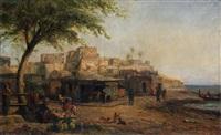 marché devant le port en orient by pierre (henri théodore) tetar van elven