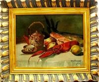 stilleben auf tisch mit hummer, lachs, zitrone, äpfeln, chinesischer teekanne u. teetasse mit untersetzer by john vervynckt