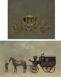 the state coach (+ study for an autobus coach; 2 works) by john leigh-pemberton
