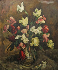 pot with tulips by traian cornescu