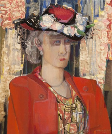 woman in a red suit and flowered hat by clara l deike