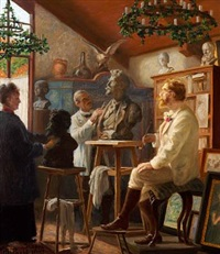 the painter p. s. krøyer is being modelled in his studio in skagen by wilhelm pacht