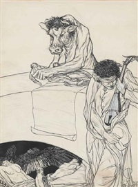 advertisement and the stock size (from a book of satyrs) by austin osman spare