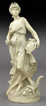 italian carved marble figure of a standing lady by anonymous-italian