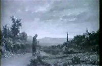 a figure on a lane in an extensive landscape by a. simonetti