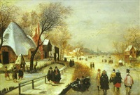 a winter landscape with elegant figures skating and playing kolf on a frozen river, a townscape beyond by adam van breen