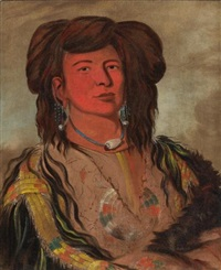 one horn, head chief of the miniconjou tribe, teton dakota (western sioux) by george catlin