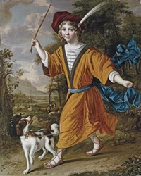 portrait of a boy in costume, with a dog in a landscape by christoffel pierson