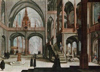 the interior of a cathedral with a procession by hendrick aerts