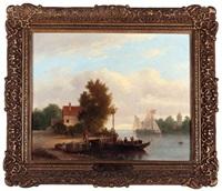 paysage animé à l'embarcadère by antonie waldorp