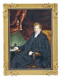 portrait d'un homme assis sur une chaise dans un intérieur vert avec un rideau rouge by william john (sir) newton