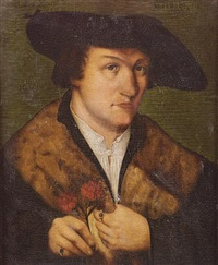 portrait of a gentleman, in a fur-trimmed coat and black hat, holding two carnations by leonhard beck