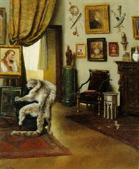 an interior with a snow-leopard rug on a chair by marie müller