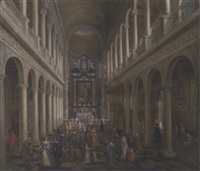 the interior of st. charles borromeo, antwerp, with elegant company by wilhelm schubert van ehrenberg
