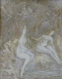 nus dans un paysage by zoya naumovna lerman