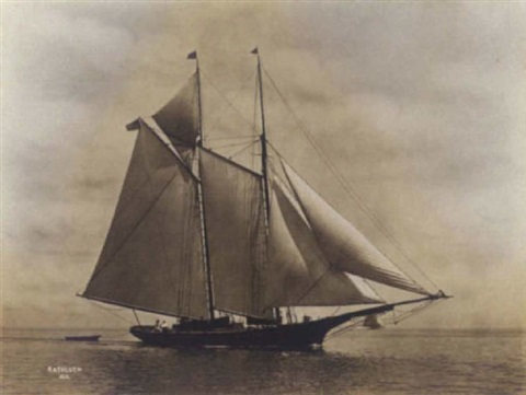the schooner kathleen in calm waters by willard bramwell jackson