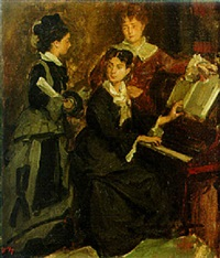 ladies by a piano by edouard agneessens