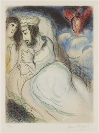 sara et abimélech, from dessins pour la bible by marc chagall