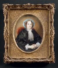 portrait d'une dame de qualité assise légèrement vers la droite, en robe de satin noir bordé de dentelle et coiffée d'un bonnet attaché par un ruban bleu turquoise by jeanne mathilde herbelin