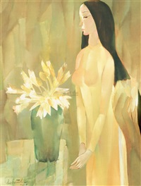 lady with lily flower by ho huu thu