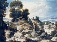 a rocky river landscape with fishermen and shepherds resting with their flock by francisco collantes