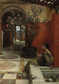 an oleander by sir lawrence alma-tadema