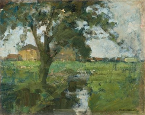 farm setting with foreground tree and irrigation ditch scène de ferme avec un arbre au premier plan et un canal dirrigation by piet mondrian
