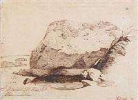 a stone near the water at hammermøllen in hellebæk by johan thomas lundbye