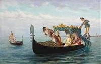 elegant couples in a gondola by pietro gabrini