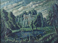 guy's cliffe, warwick (+ wooded farm view, oil on paper laid on board; 2 works) by john henry norman